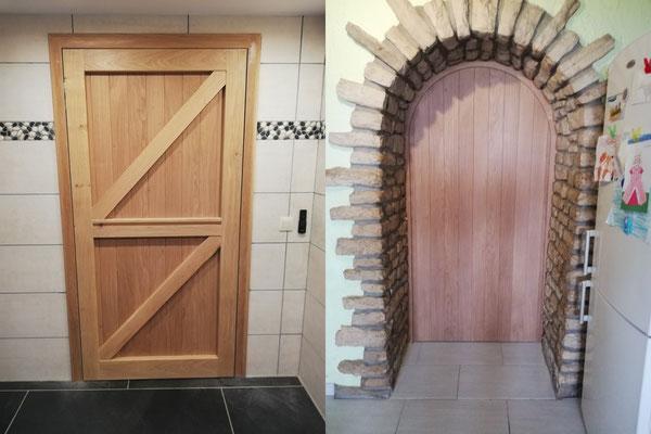 Porte en chêne, quincailleries invisibles,  réalisée dans nos ateliers.