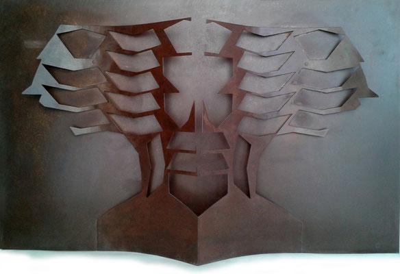CABEZA ÁRBOL. 2007. 113 x 71 x 12 cm.  Hierro.