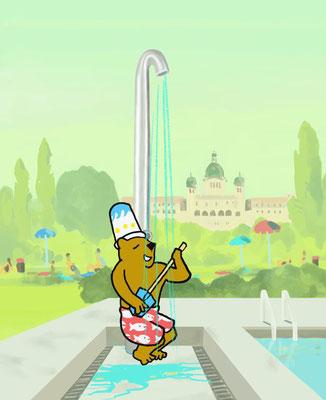 Bild aus einem Animationsfilm einer Duschkampagne der Freibäder der Stadt Bern.