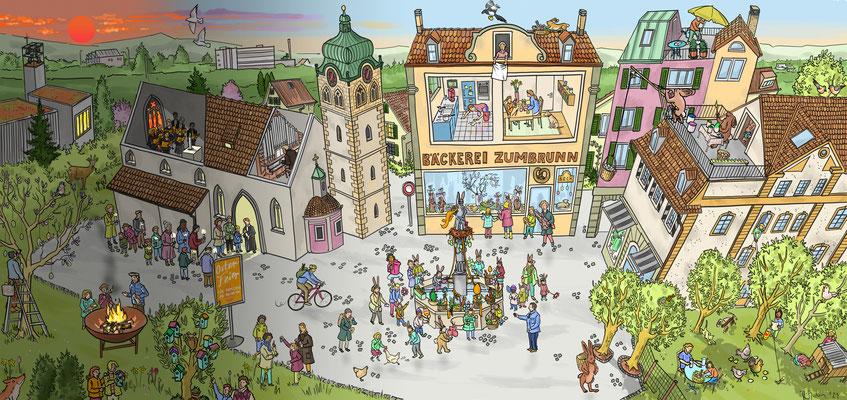 """Wimmelbild für die reformierte Landeskirche des Kantons Zürich zum Thema """"Ostern und Osterbräuche""""."""