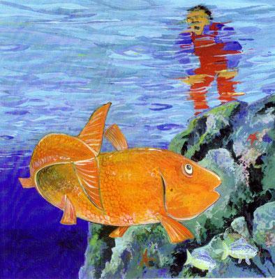 """Illustration aus dem Bilderbuch """"Der Fischer""""."""