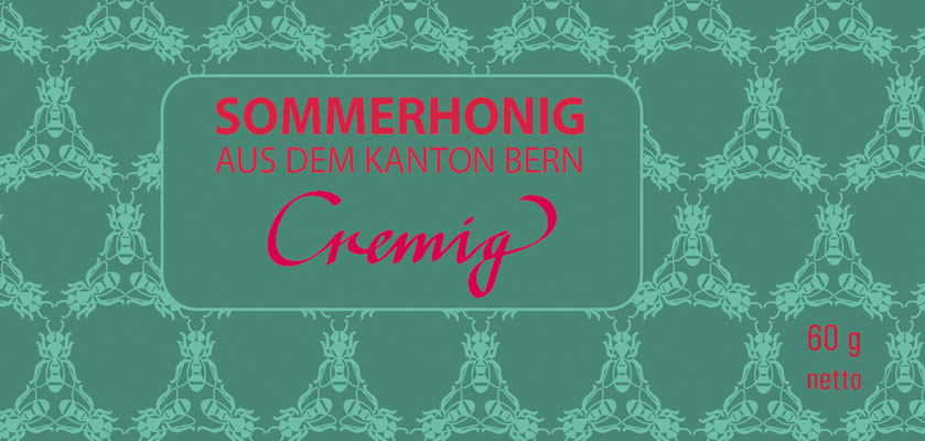 Etikette für den Sommerhonig des berner Stadtimkers.