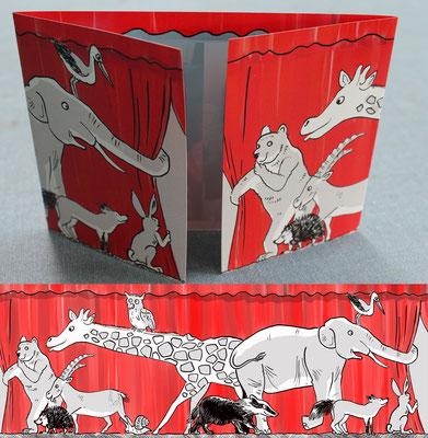 Vorhang auf für:... Fensterfalz Geburtsanzeige mit neugierigen Tieren.