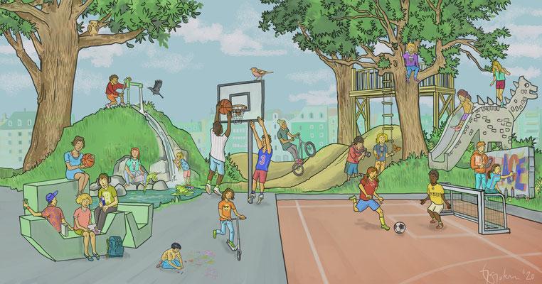 Illustration zu einer Präsentation für kindergerechte Pausenplätze. Kunde: DOK Bern.