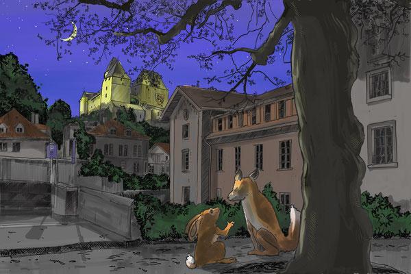 Fuchs und Hase treffen sich in der burgdorfer Oberstadt.