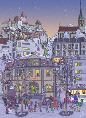 """Bild für eine Weihnachtsaktion der Detaillistenvereinigung """"Pro Burgdorf""""."""