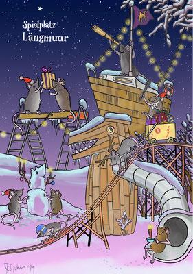 Weihnachtskarte für den Abenteuerspielplatz Längmuur in Bern.