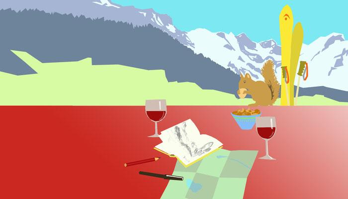Hintergrund für eine Webseite einer Ferinewohnung in Engelberg.