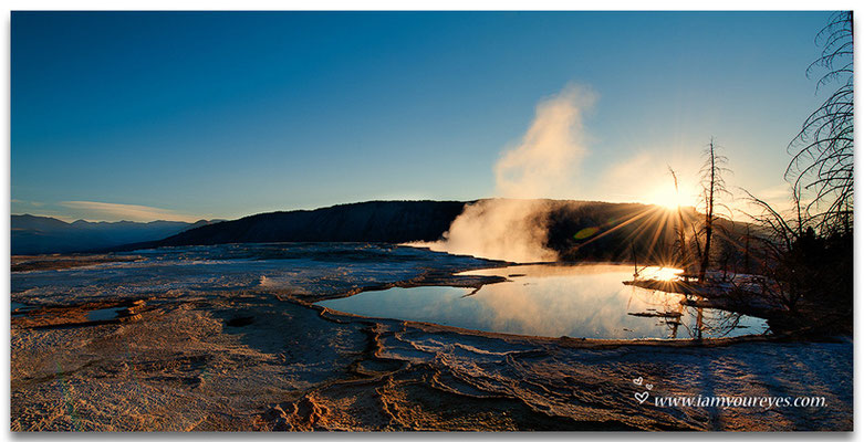 Sunrise at Canary Springs at Mammoth Hot Springs