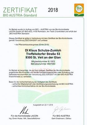 Bio Austria Prüfzeugnis 2018