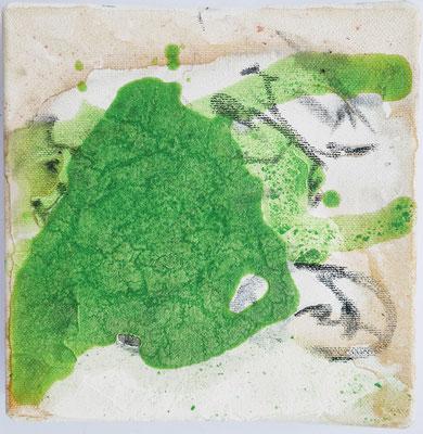 Gold und Grün - viele Schichten die jetzt in Grüntönen folgen - Bewegung, Überforderung, Panik sind im Bild zu spüren und zeigt sich