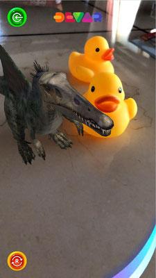 スピノサウルス あひるとお散歩