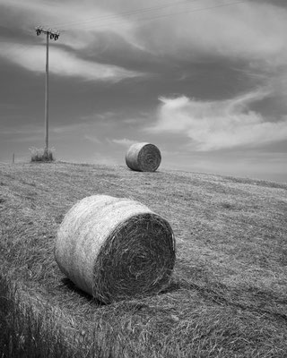 Haystacks and telephone poles