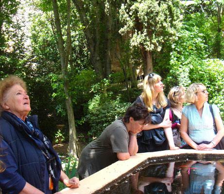 Julia Silva Delgado (l.) erklärt den Besuchern den Park