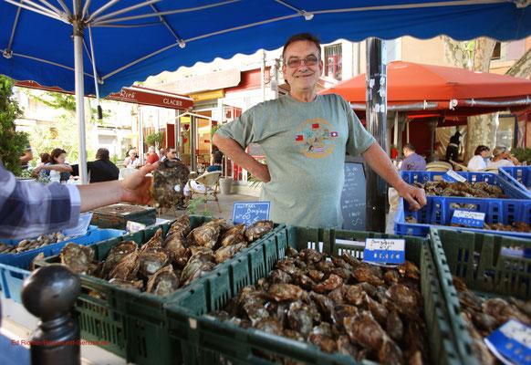 Austern in allen Größen auf dem Markt von Carpentras