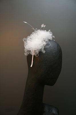 Brautkopfschmuck, Fascinator für die Hochzeit aus Tüll uznd Federn
