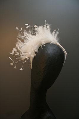 Brautkopfschmuck, Fascinator für die Hochzeit mit Federn
