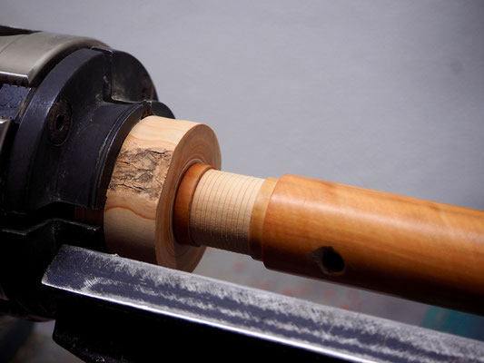3 - Adjusting the tenon on the lathe