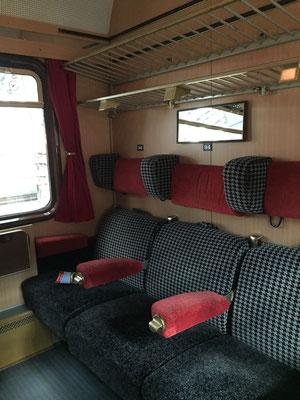 Unser Abteil für die anstehende Fahrt, mit sehr bequemen Sesseln.