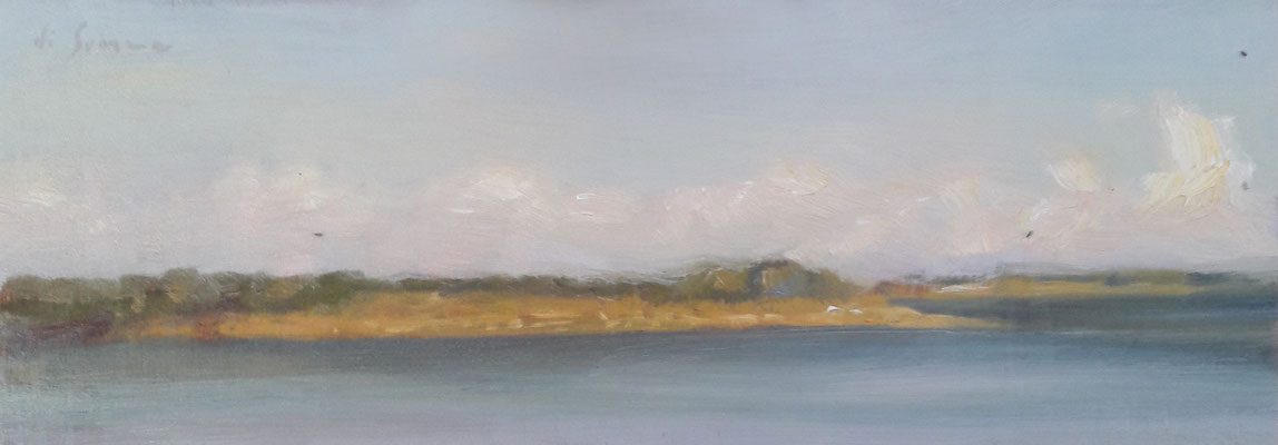 Nubi di tramontana, olio su tavola, 10 x 30 cm, 2020