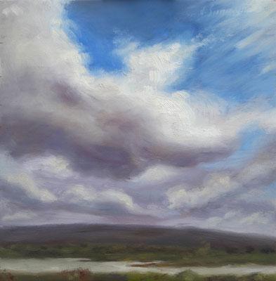 L'arrivo della tempesta, olio su tavola, 20 x 20 cm, 2020