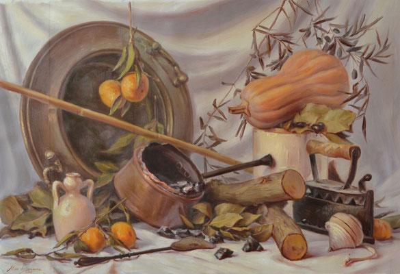 Il focolare, colori a olio su tela, 74 x 50 cm, 2020