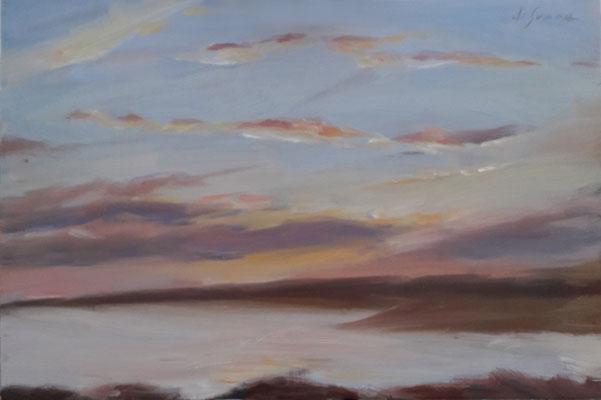 L'ultimo raggio, olio su tavola, 20 x 30 cm, 2020
