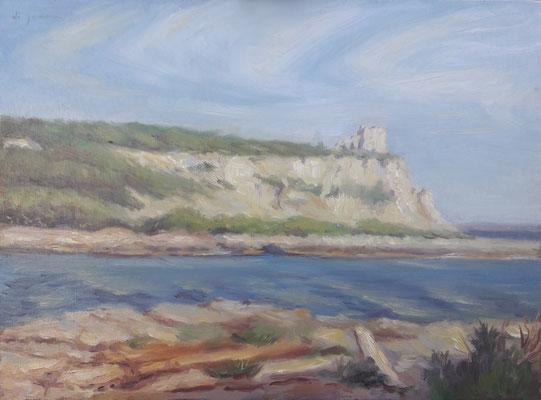 La baia di Porto Selvaggio, olio su tavola, 30 x 40 cm, 2020