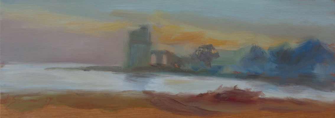 L'ultima vedetta, Torre Colimena, oil on wood, 30 x 10,5 cm, 2017