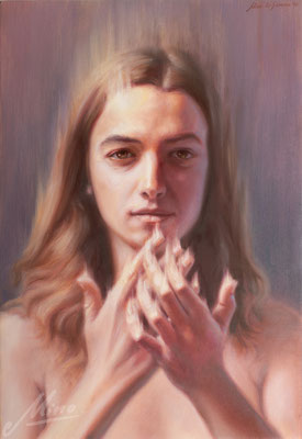 Intimità, dipinto ad olio su tela, 30 x 43 cm, ©2019Mino di Summa
