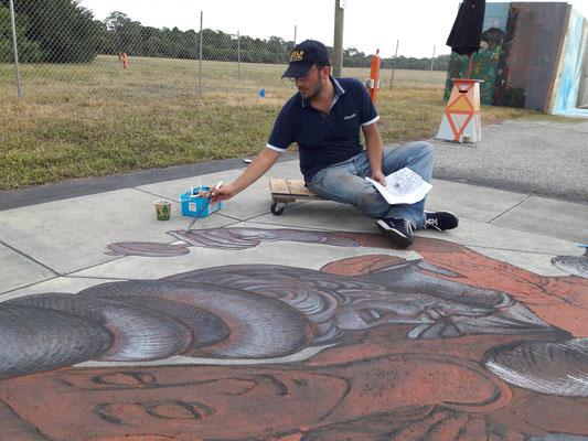 Chalk festival, Venice, Florida 2016   Durante i lavori del 3D con Kurt Wenner.