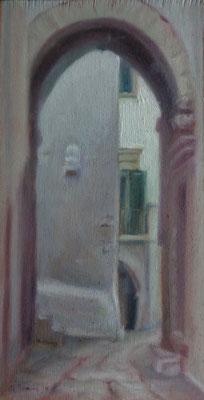 Dietro l'angolo, Ostuni, oil on wood, 15 x 30 cm, 2016