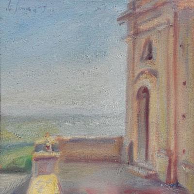 La chiazza, oil on wood, 20 x 20 cm, 2019