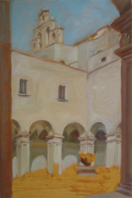 Luce in pace, Chiostro dei Paolotti in Grottaglie, oil on wood, 15 x 30 cm, 2016