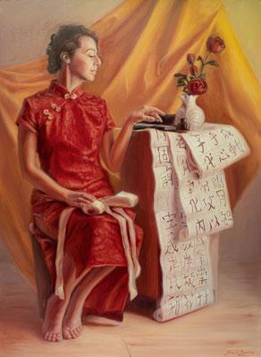 Nathalie, colori ad olio su tela, 73 x 100 cm, 2020