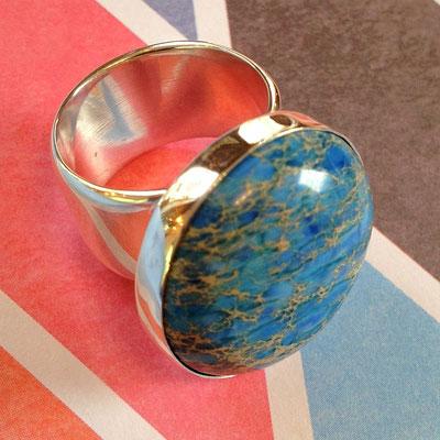 Zilveren brede ring met Jaspis - blauw