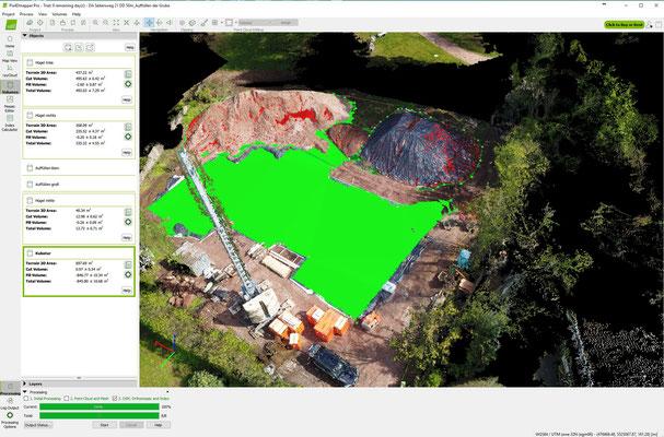 Zentimeter genaue Vermessung mithilfe von Photogrammetrie einer Baugrube Halden - Vermessung durch Volumenbestimmung