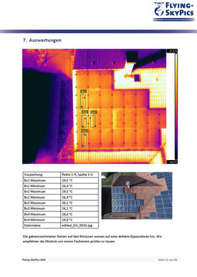 Auszug aus einem Zustandsbericht einer Photovoltaikanlage