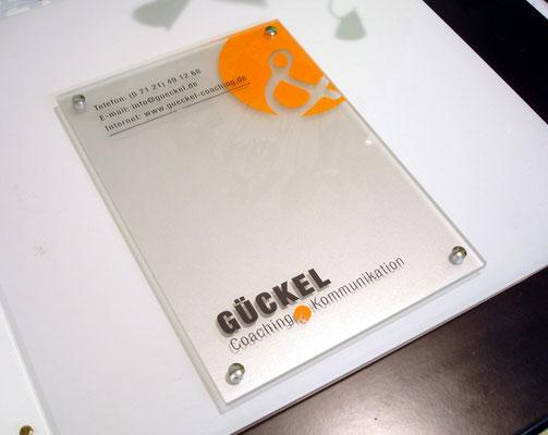 Acrylglas satiniert hinterlegt, Front beschriftet