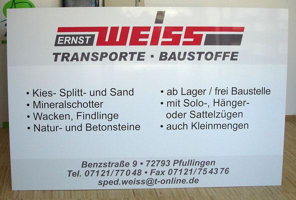 Firmenschild aus Alu mit Digitaldruck