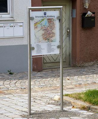 Übersichtstafel Ortsrundgang Kilchberg. Plexiglas und Edelstahl