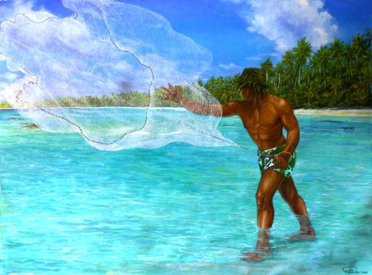 N°42 Lancer du filet aux Tuamotu 75x100 Huile sur toile