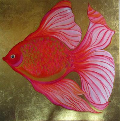 N°10 Gold fish 100x100 Mixte/toile Vendu