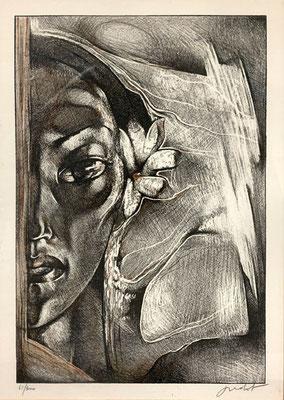 N°62 Vahine à la fleur Lithographie 61/300 66X50