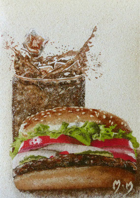 Martre Hamburger coca cola 29x27 Sable Vendu