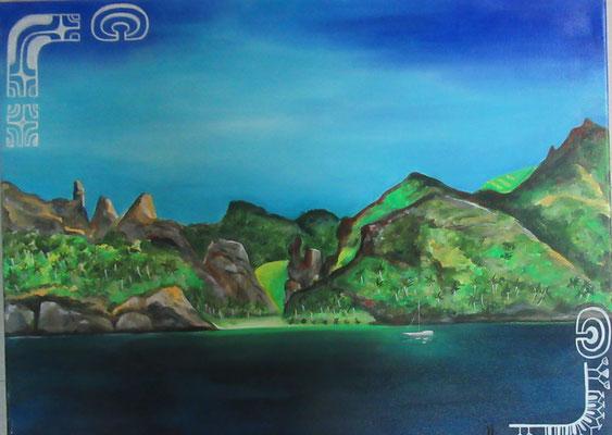 N°7 Fatu Hiva 61x46 Acrylique sur toile