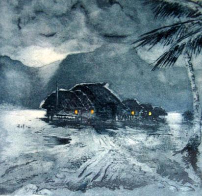 N°35 Clair de lune 1949 Aquatinte 36X33