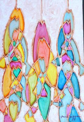N°12 DEVIENNE Poissons multicolores 59x40 HST