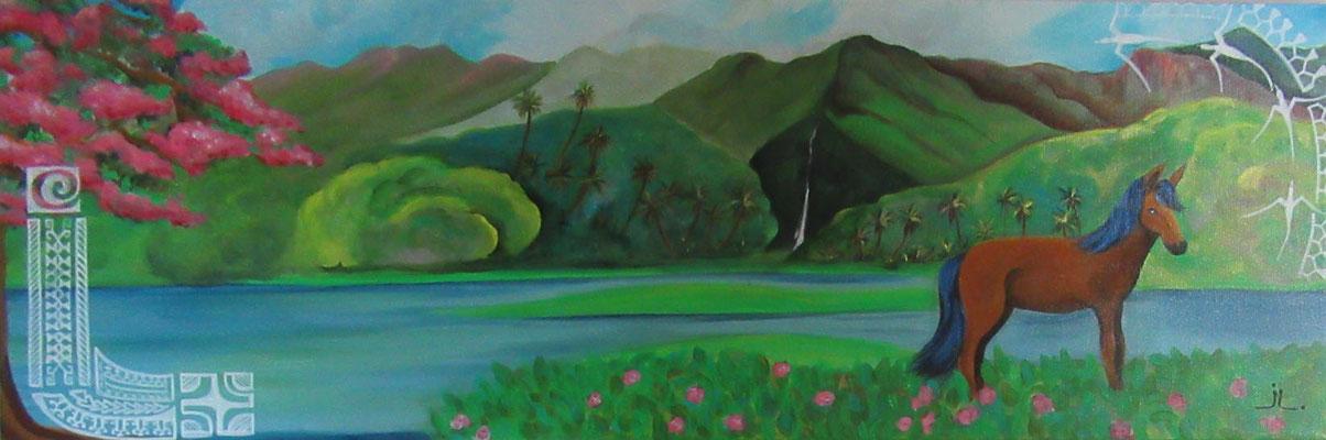 N°33 Hiva Oa 30x90,5 Acrylique sur toile