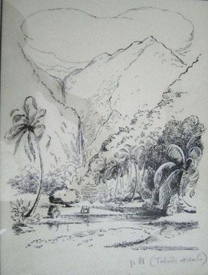 Dans la vallée de la Fataua Encre 39x28